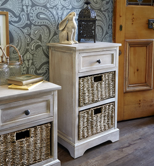 Lime washed storage unit with drawer and seagrass baskets