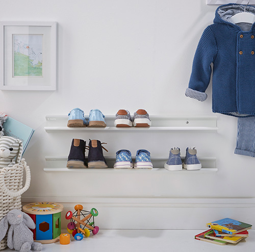 Wall mounted painted steel shoe rack for kid's shoes