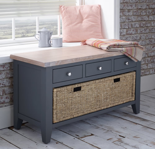 Solid oak hallway storage bench with baskets