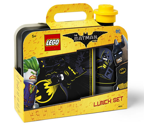 LEGO Batman Movie lunch set with LEGO Batman lunchbox and matching drinking bottle