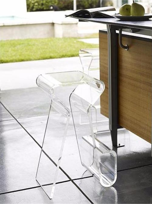 Clear acrylic bar stool with storage