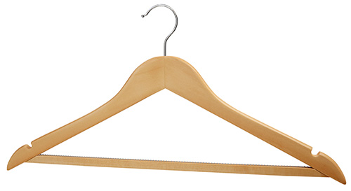 Set of 3 Wooden Hangers with Trouser Rumble Strip