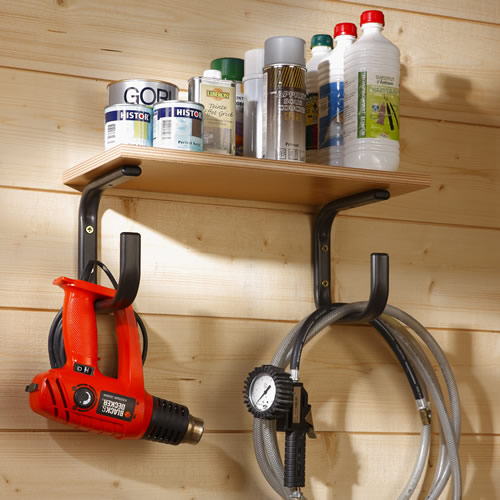 Pair of shelf supports and tool hangers