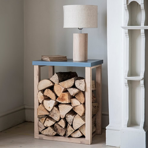 Oak and painted wood log storage table - Clockhouse