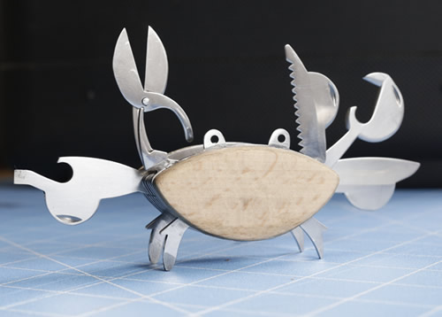 Beechwood and stainless steel crab shaped multi tool