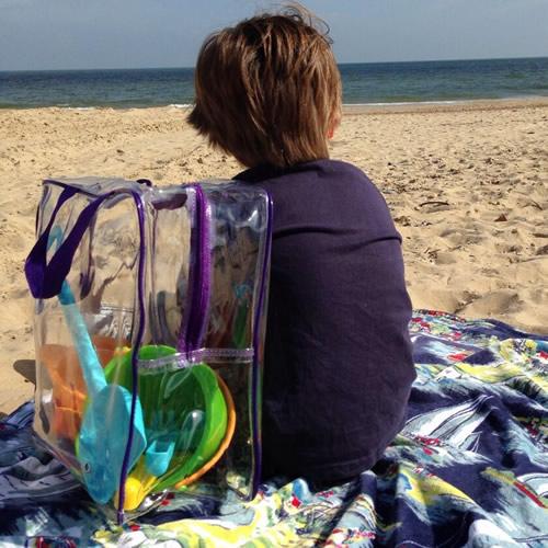 Clear plastic beach bag