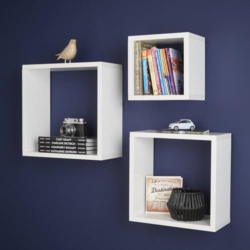 Set of 3 high gloss floating cube shelves