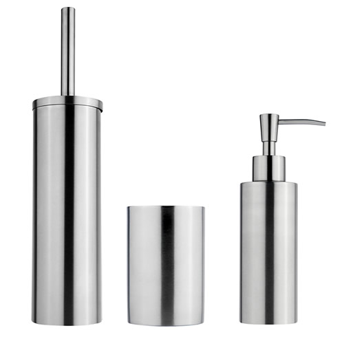 Matt stainless steel bathroom accessory set - Barcelona