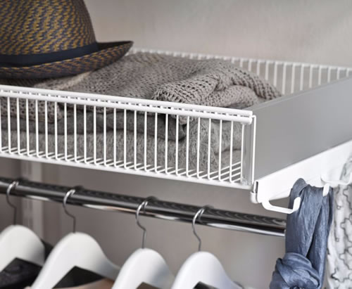Elfa basket shelf 60cm wide x 30cm deep in white