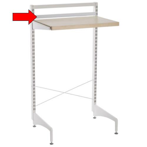 Elfa freestanding back stop bar 90cm wide in white