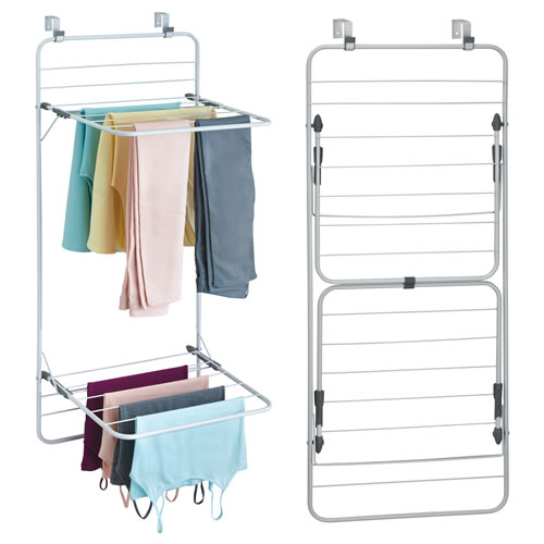 Over door double clothes drying rack