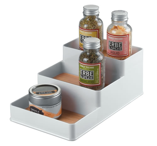 Real wood and white plastic spice stepper