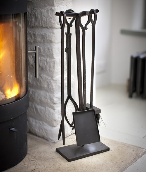 Wrought iron set of 4 fireside tools companion set