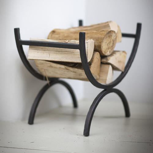 Wrought iron fireside log holder