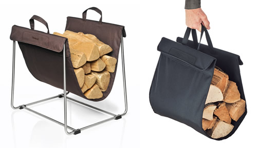 Stainless steel and fabric log carrier and storage stand