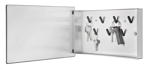 Key storage box with magnetic board front