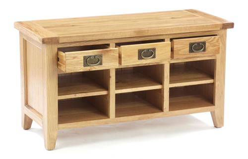 Solid oak shoe storage bench with 6 cubbies and 3 drawers