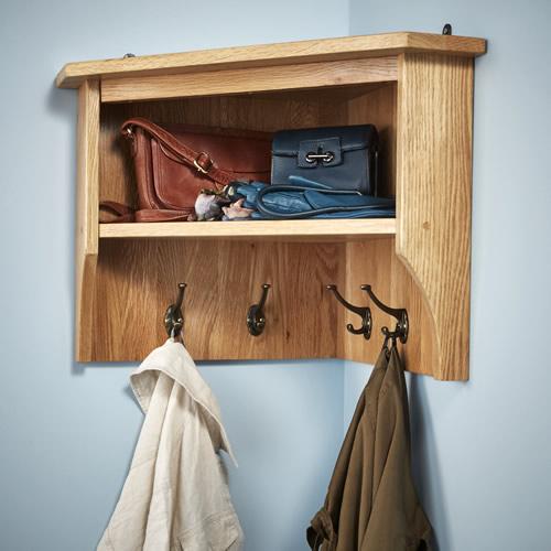 Corner Shelf with Coat Hooks