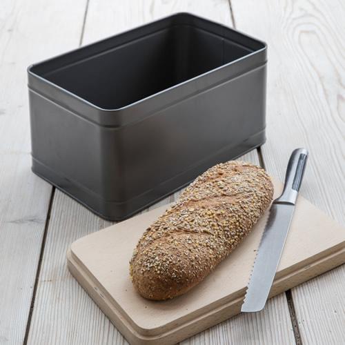 Powder coated steel bread bin with beech wood chopping board lid