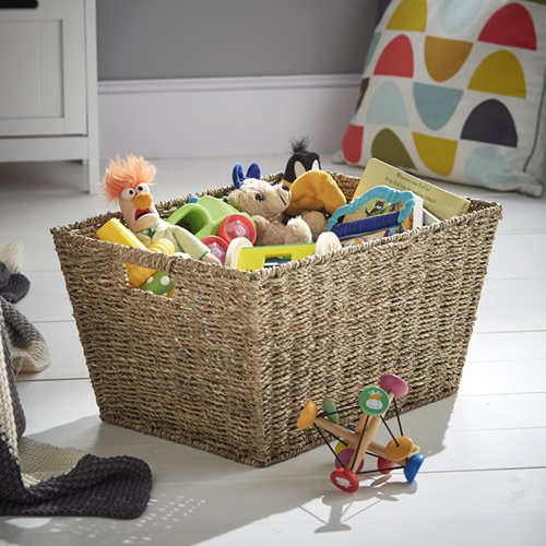 Giant open seagrass storage basket with cut out handles