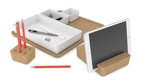 Sebastian Conran designed 6 piece desk organiser set made from cork