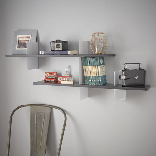 White and black extendable shelf