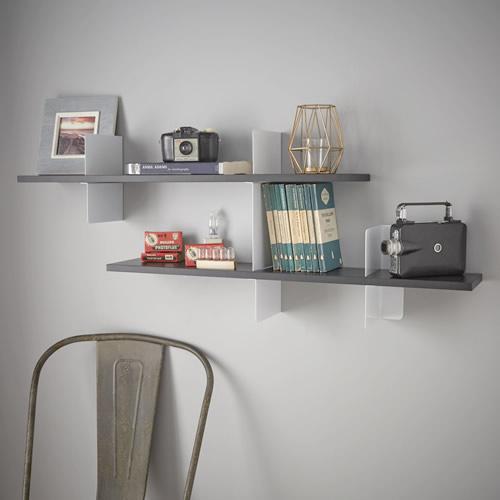 White and black extendable shelf