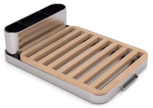 Stainless steel and beech wood dish drainer designed by Sebastian Conran