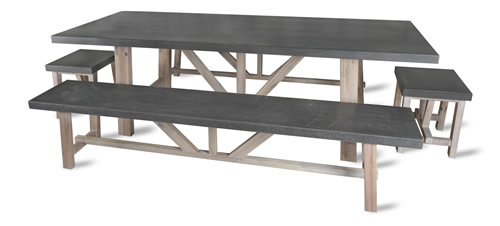 Cement fibre and acacia wood dining table and benches