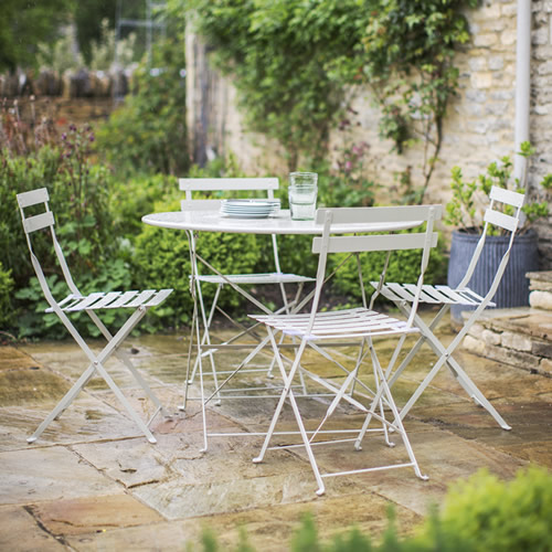 Steel garden table and 4 chair set
