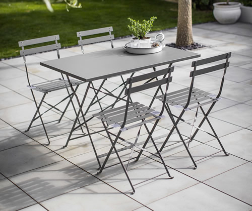 Rectangular Droite Bistro Table & 4 Chairs