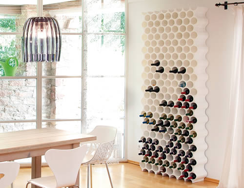 Modular honeycomb wine rack in white