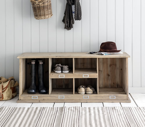 Spruce wood shoe and welly boot storage locker