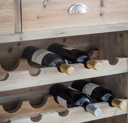 Spruce wood wine rack with storage drawers