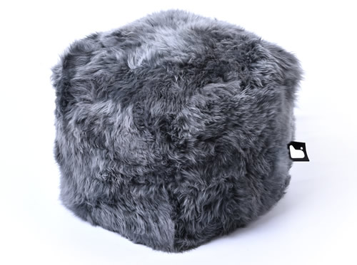 Sheepskin furry B-Box footstool from Extreme Lounging