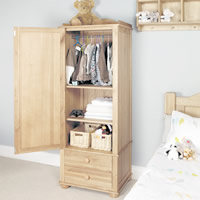 Solid Oak Single Wardrobe - Amelie