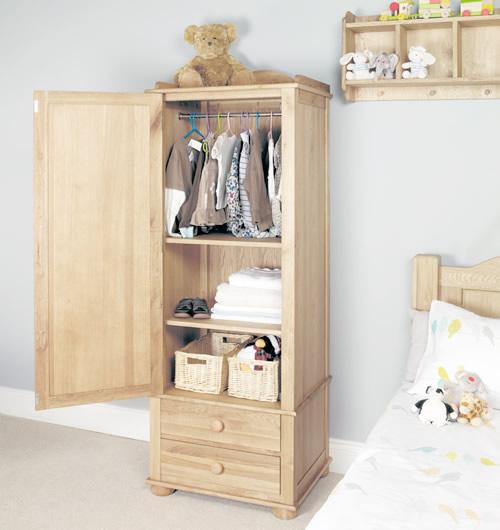 Solid oak single wardrobe - Amelie