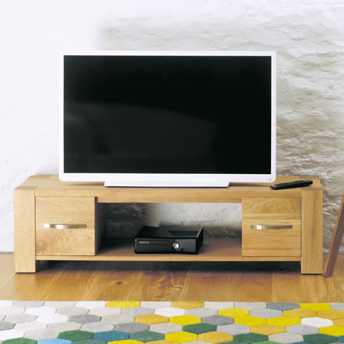 Oak Widescreen TV Cabinet with Drawers - Aston