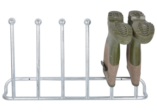 Galvanised wall mounted welly rack