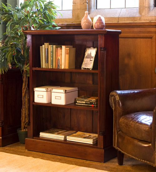 Solid mahogany low bookcase with 2 shelves