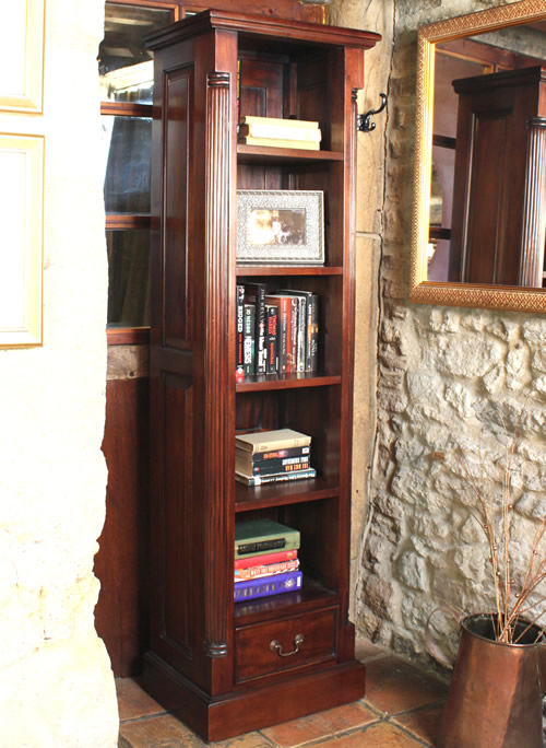 Solid mahogany narrow bookcase with 4 adjustable shelves and storage drawer