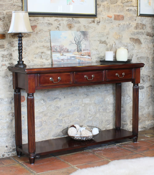 Solid mahogany console table with 3 storage drawers and shelf