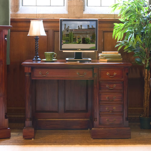 Solid mahogany single pedestal computer desk