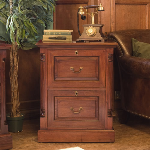 Two Drawer Mahogany Filing Cabinet - La Roque