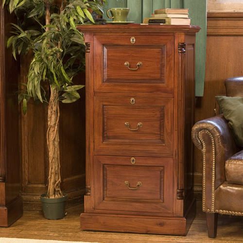 Solid mahogany 3 drawer lockable filing cabinet