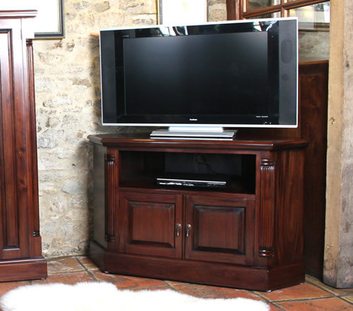 Solid mahogany corner TV cabinet