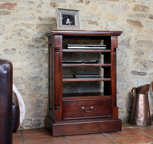 Solid mahogany media storage cabinet