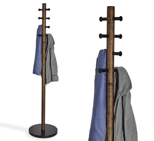 Pillar coat rack with 8 storage hooks