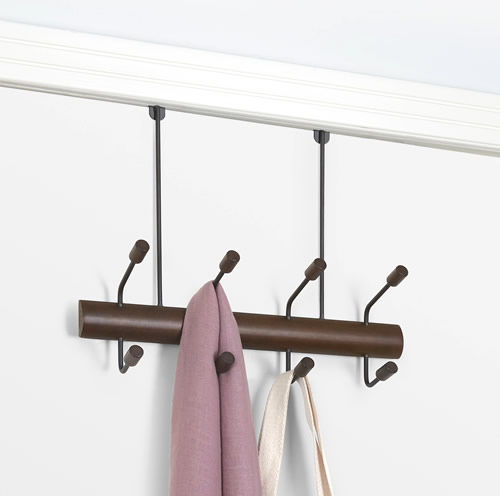 Over door / wall mounted storage hook with 8 pivot hooks