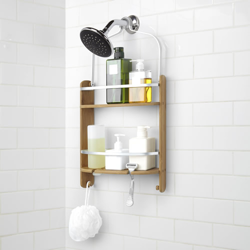 Mildew resistant bamboo and aluminium shower caddy